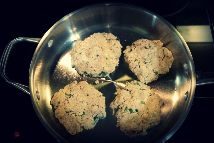 Precooked salmon burgers